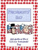 Presidents' Day Alphabetical Word Sort