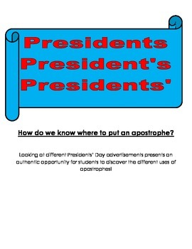 Presidents' Day Apostrophe Lesson