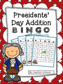 Presidents Day Addition BINGO
