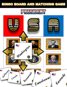 Presidents Day Bingo Matching Activity
