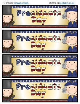 Presidents Day Bookmarks Color and B/W
