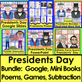 Presidents' Day Bundle K/1 Readers, Subtraction, Poems, PowerPoint & Sight Words