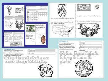 Presidents' Day Bundle Washington & Lincoln Mini Activity Packets SPED