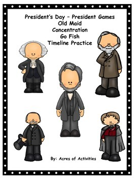 President's Day Card Games - Old Maid, Concentration, Go Fish