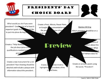 Presidents' Day Choice Board Holiday Activities Menu Project Rubric Tic Tac Toe