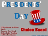 Presidents' Day Choice Board Holiday Activities Menu Proje