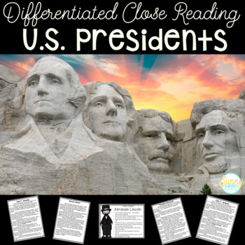Presidents' Day- Close Read Biography Unit- Differntiated & Common Core Aligned