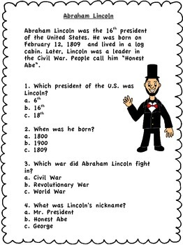 President's Day Close Read Passages- Abraham Lincoln George Washington