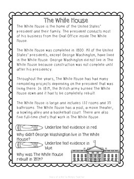 Presidents Day Close Read Passages and Interactive Notebook