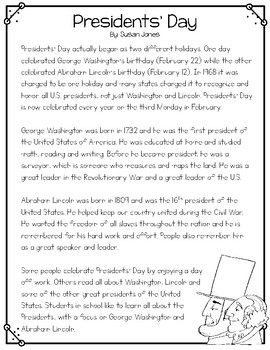 Presidents' Day Close Reading Passage and Poem