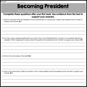 Close Reading: Presidents Day Differentiated Passages   Text-Dependent Questions