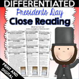 Reading Comprehension Passages and Questions - Close Reading Presidents Day