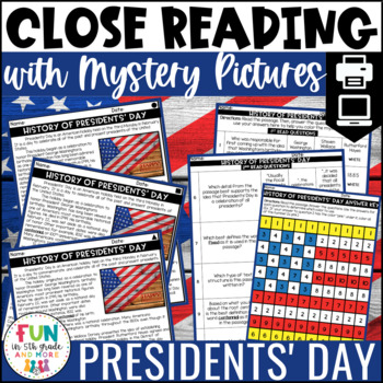 Presidents' Day Close Reading Comprehension w/ Mystery Picture Activity