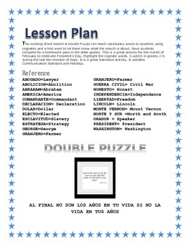 Presidents' Day Spanish- Cognate full Word Search & Double Puzzle