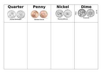 President's Day Coin Sorting Mat