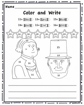 Presidents' Day Color By Number and Writing Activity