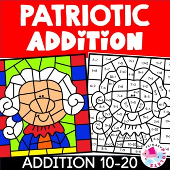 Presidents Day Color by Number Addition Facts Sums 10-20
