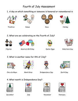 Presidents' Day, Columbus Day, and Independence Day Picture Supported Assessment
