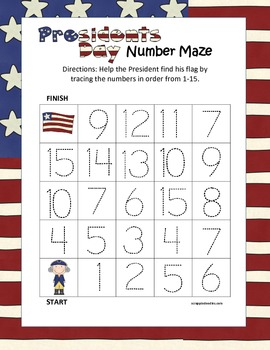 Presidents Day Tracing Mazes Numbers