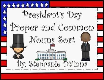 President's Day Common and Proper Noun Sort
