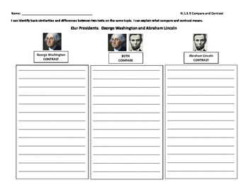 Presidents Day Compare and Contrast Graphic Organizer