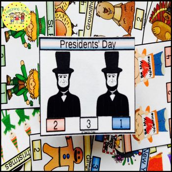 Presidents' Day Count and Clip Holiday Task Cards