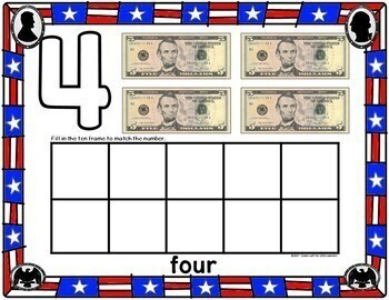 Presidents Day Play Dough Counting Mats 0-10