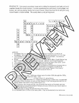 Presidents Day Activities Crossword Puzzle and Word Search Find