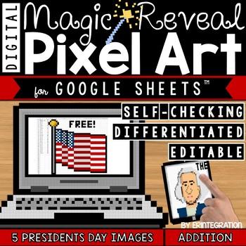Presidents Day Digital Pixel Art Magic Reveal ADDITION