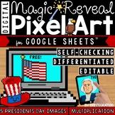 Presidents Day Digital Pixel Art Magic Reveal MULTIPLICATION