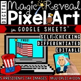Presidents Day Digital Pixel Art Magic Reveal MULTIPLICATION