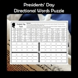 Presidents' Day Directional Words Puzzle