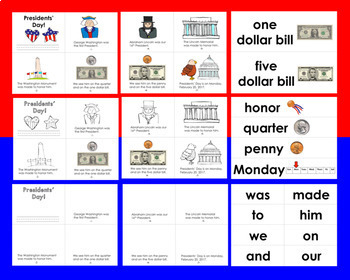 Presidents' Day Differentiated Readers - 3 Levels + Illustrated Word Wall