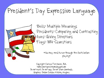President's Day Expressive Language Packet