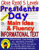 Presidents Day CLOSE READING 5 LEVELED PASSAGES Main Idea Fluency Check TDQs