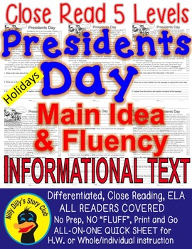 Presidents Day FACTS Differentiated 5 levels Close Read AL