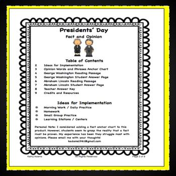 Presidents' Day Fact and Opinion