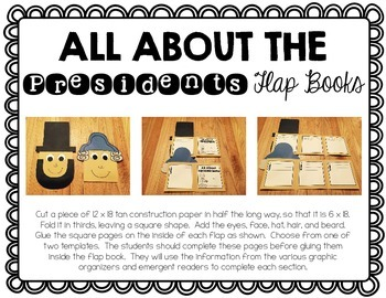 President's Day Flap Book {Graphic Organizers, Templates & Emergent Readers}