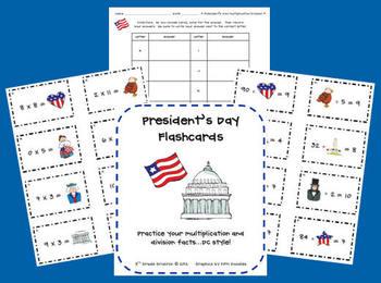 President's Day Flashcard Center (Multiplication/Division)