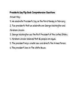 Presidents Day Flip Book Comprehension Questions