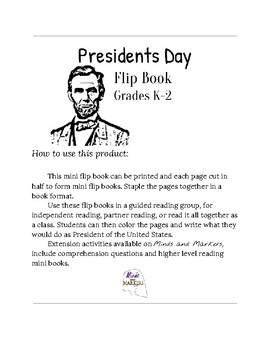 Presidents Day Flip Book Primary Grades