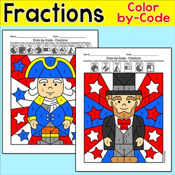 Presidents' Day Math Color by Fractions: George Washington, Abraham Lincoln