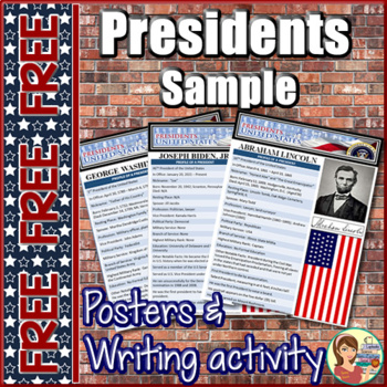 Presidents FREE Posters and Writing Activity