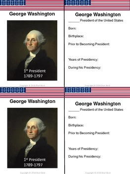 President's Day Freebie:  George Washington Trading Card