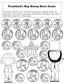 President's Day Freebie (Morning Review Page & Addition Money Game)