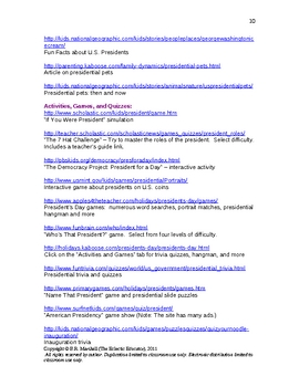 Presidents' Day Fun and Resources   (Revised for 2012)