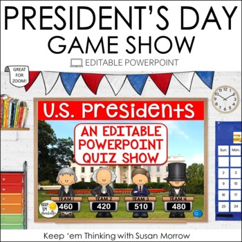 President's Day Game: PowerPoint Game Show Jeopardy Style - Editable