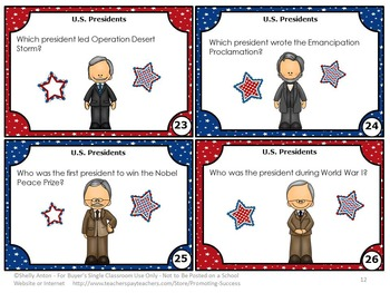 US Presidents Research Task Cards