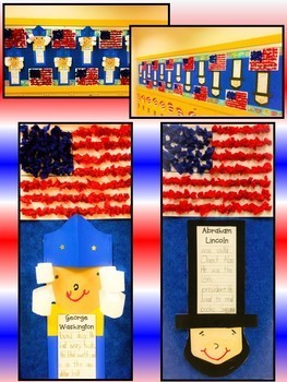 Presidents' Day George Washington Abraham Lincoln Bulletin Board Writing Craft