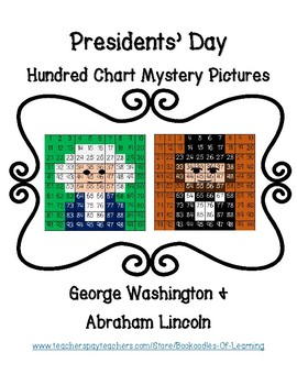 Presidents' Day George Washington Abraham Lincoln Hundred Chart Mystery Pictures